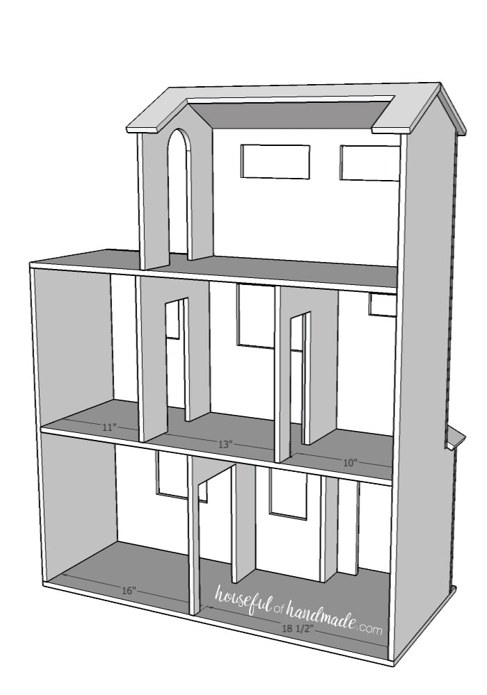 Build plans for beautiful handmade dollhouse from a sheet of plywood