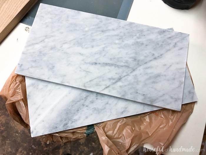 Turn inexpensive marble tiles into a beautiful marble cheese board. Perfect DIY gift idea. Housefulofhandmade.com