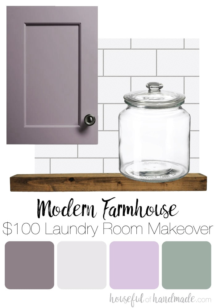 We are turning our boring laundry room closet into a magazine worthy space with this month's $100 laundry room makeover. With a bit of creativity and a lot of DIYs we will transform this ugly room into a modern farmhouse laundry room.Housefulofhandmade.com