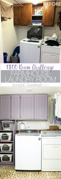 Before photo of the outdated laundry room and final photo of the colorful farmhouse laundry room with text overlay: $100 Room Challenge, Farmhouse Laundry Room. Housefulofhandmade.com