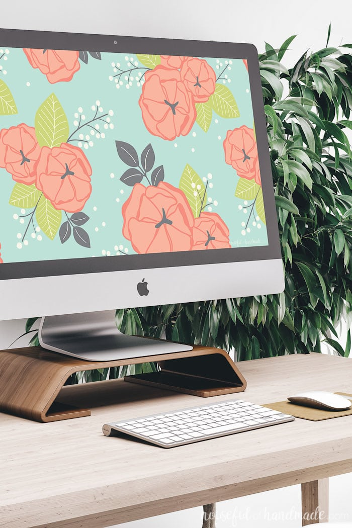 iMac computer with free digital background of colorful floral print on the screen. Housefulofhandmade.com