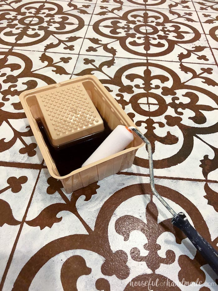 Seal the floor with polyurethane to protect the paint of the floor stencil. Housefulofhandmade.com