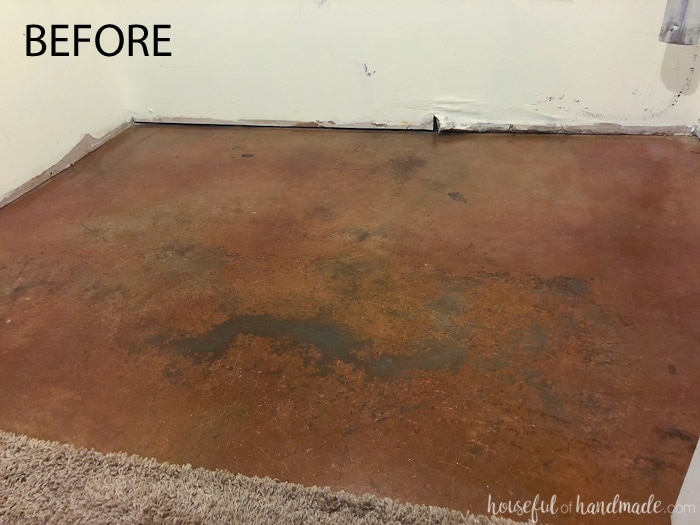 This boring concrete basement floor was turned into a beautiful patterned tile floor on a budget. See the transformation on Housefulofhandmade.com.