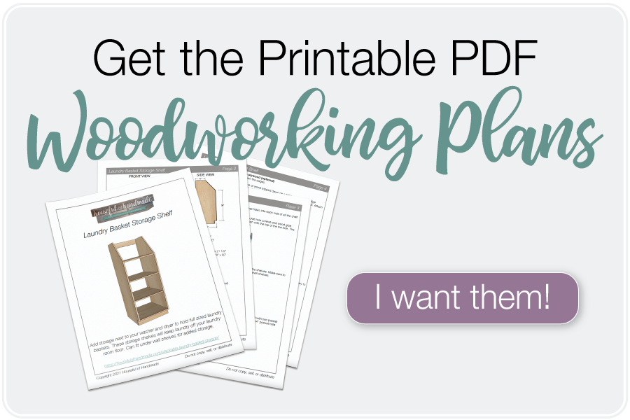 Picture of the printable PDF woodworking plans for a laundry basket storage shelf and a button to purchase them.