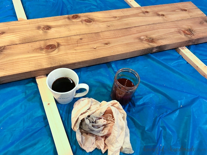 This homemade barnwood stain reacts with the wood to create a beautifully aged wood finish. Housefulofhandmade.com