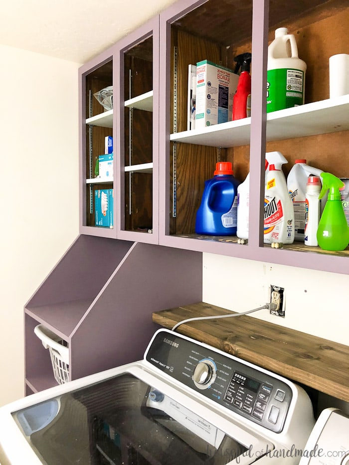 See how to update a room on a budget. This laundry room remodel is being done for only $100. Lots of creative ideas for inexpensive home improvements and budget decorating. Housefulofhandmade.com