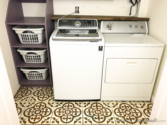 The $100 laundry room remodel is coming along! See the week 4 progress at Housefulofhandmade.com.