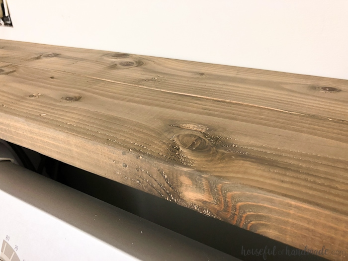 I love this beautiful barnwood finish. You can turn any wood into barnwod with this inexpensive stain. Housefulofhandmade.com