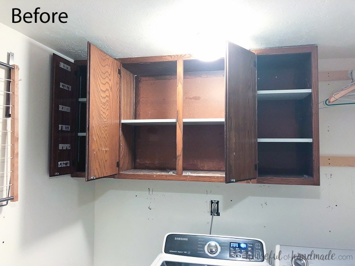 Don't be afraid of painting cabinets. See how easy it was to update these 1970s cabinets for our laundry room remodel. Housefulofhandmade.com