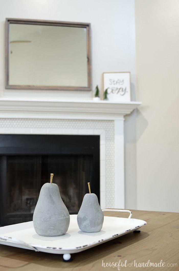 Add simple rustic decor to create a cozy winter home. Housefulofhandmade.com