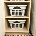 Turn the empty space next to your washing machine into useable space with this stackable laundry basket storage! Housefulofhandmade.com