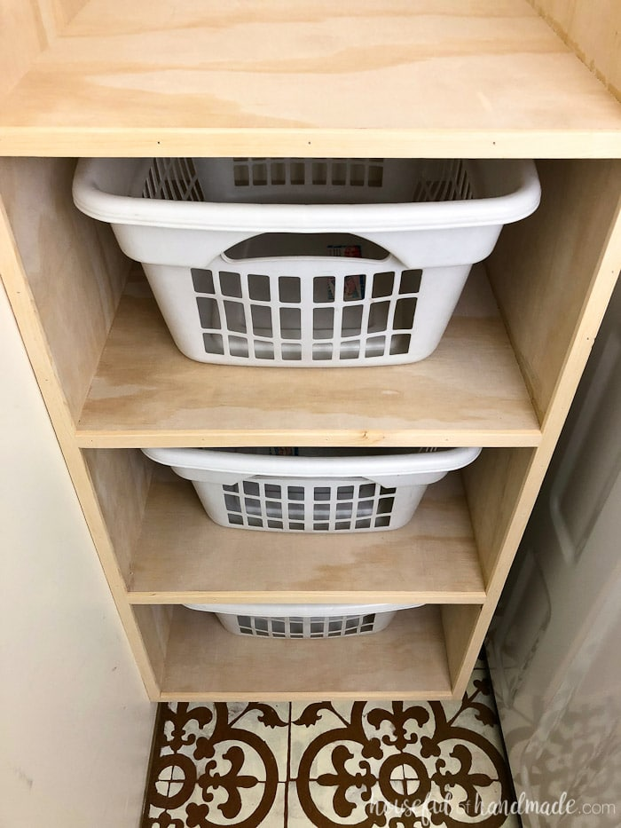 Storage is so important in a laundry room. A stackable laundry basket storage is a great way to save on space but add tons of storage and functionality to a small laundry room or closet. This easy to build shelf holds 4 laundry baskets so you can sort and store all your dirty clothes. Housefulofhandmade.com