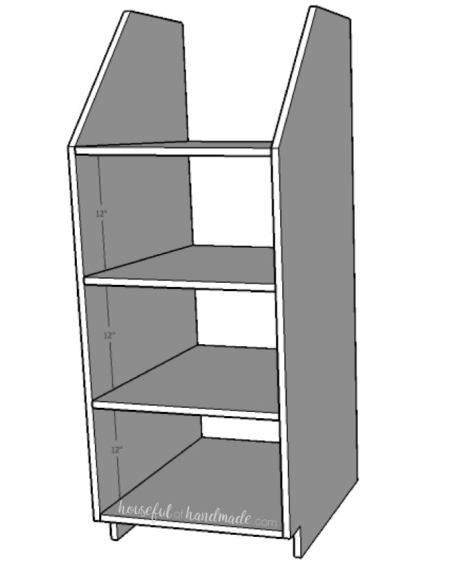 Step 3 for the stackable laundry basket storage build plans. Housefulofhandmade.com
