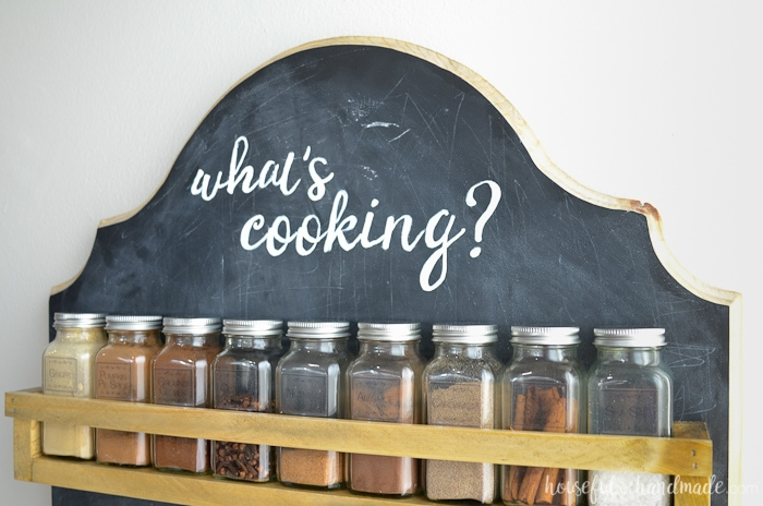 Close up of wall mounted spice rack