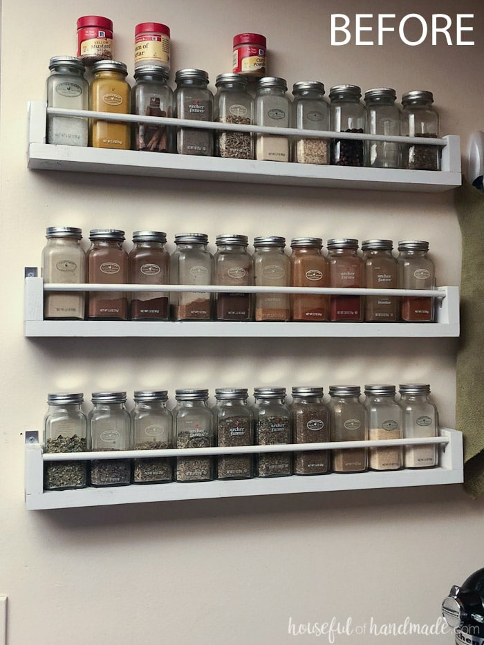 Turn your ugly spice shelves into a work of art for your kitchen. Build a beautiful wooden spice rack to show off your spices. The perfect farmhouse kitchen decor. Housefulofhandmade.com