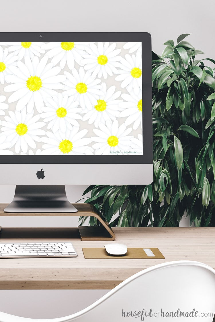iMac computer screen full of daisy digital wallpaper. Download the free digital backgrounds for March from Housefulofhandmade.com.