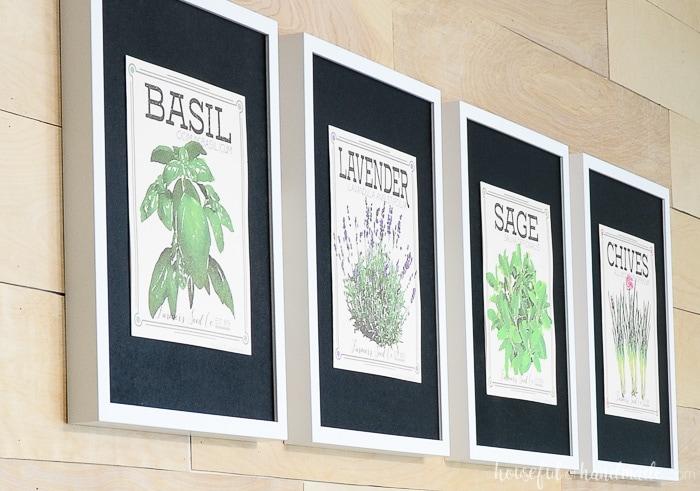 Basil, Lavendar, Sage, and Chives vintaged herb prints on black mats. Housefulofhandmade.com