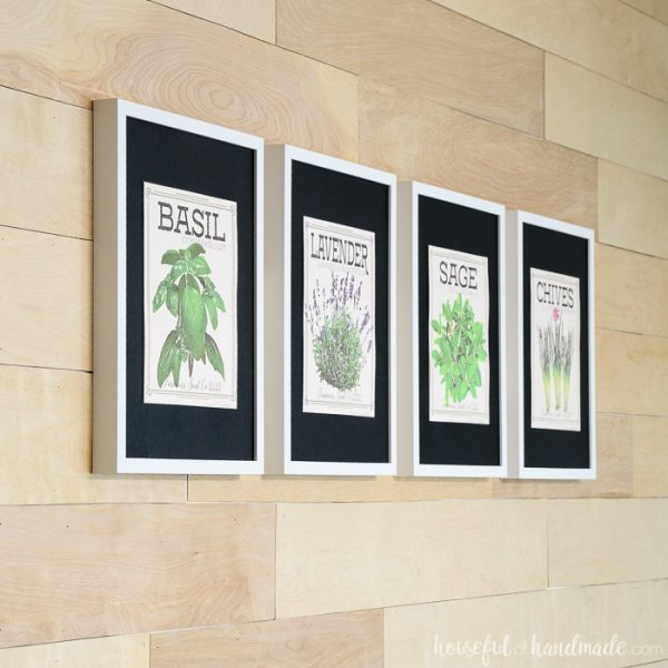 Four vintage inspired herb prints made to look like vintage seed packets in frames. Housefulofhandmade.com
