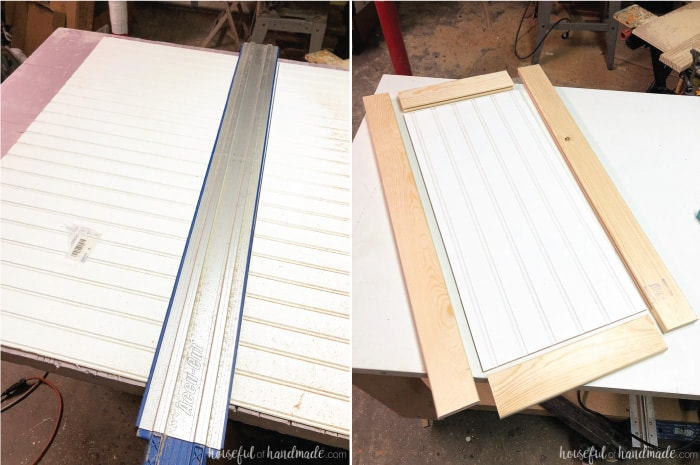 Picture of beadboard being cut with AccuCut guide track and picture of cut beadboard panel and & How to Build Cabinet Doors Cheap - Houseful of Handmade
