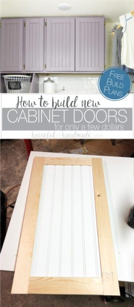 How to build cabinet doors for only a few dollars. Completed DIY shaker cabinet doors in laundry room and unfinished cabinet door. Housefulofhandmade.com