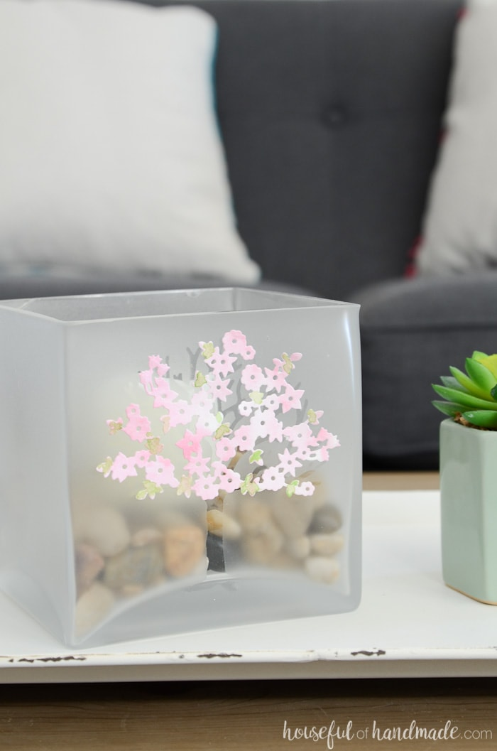 Square glass candle holder with beautiful spring design on a tray. Housefulofhandmade.com