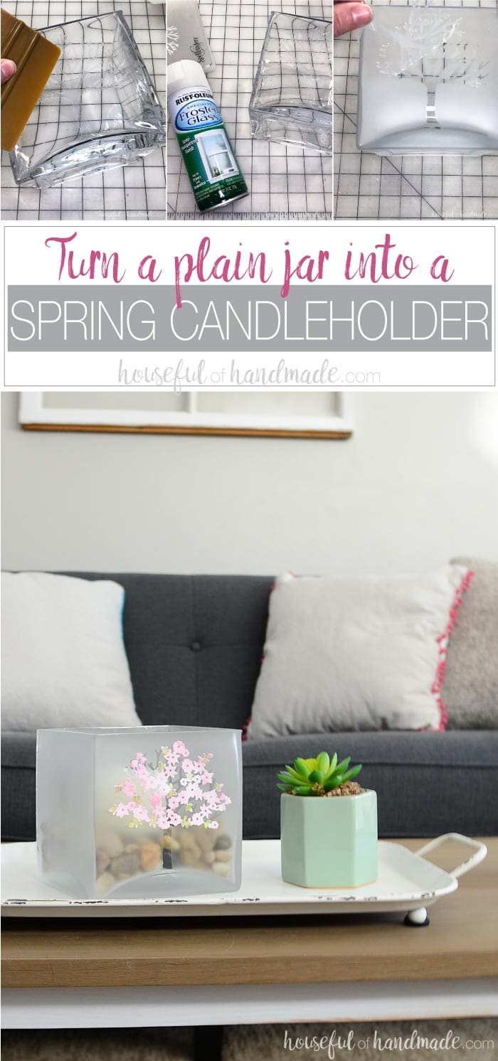 Decorate your home for spring with a large glass candle holder decorated with spring blossoms. This simple craft is the perfect way to shake the winter blues. Turn a boring glass candleholder into a beautiful piece of decor to transition the home into spring. Perfect for centerpieces or your spring mantel decor. Housefulofhandmade.com