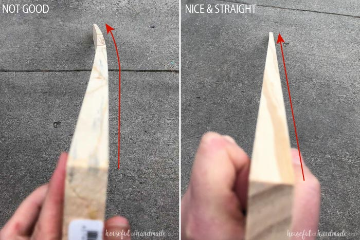 A picture of a warped board and a straight board to show what to look for when buying lumber. Housefulofhandmade.com