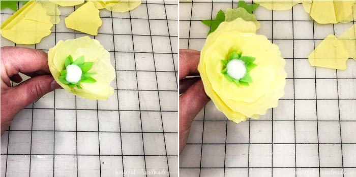 Add petals to the flowers for the spring wreath until they are full. Housefulofhandmade.com