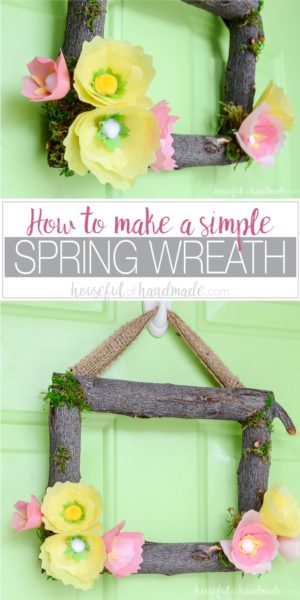 Spring flower wreaths are the perfect way to start decorating your home for spring. You can place them anywhere in your home, but I love spring wreaths for the front door. Make this beautiful spring wreath with simple tissue paper flowers and tree branches. Full tutorial on Housefulofhandmade.com.