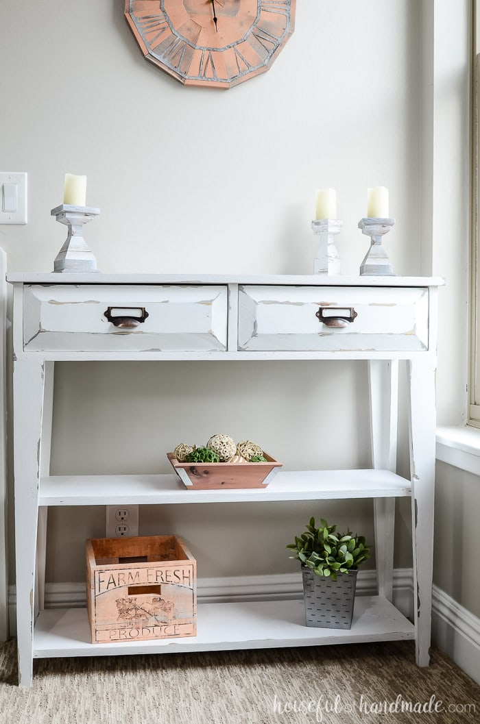 Farmhouse Style Small Console Table With 2 Drawers And Open Shelving.  Housefulofhandmade.com