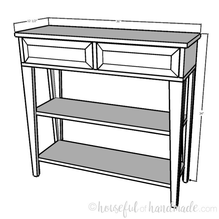 Build plans for a small console table. Housefulofhandmade.com