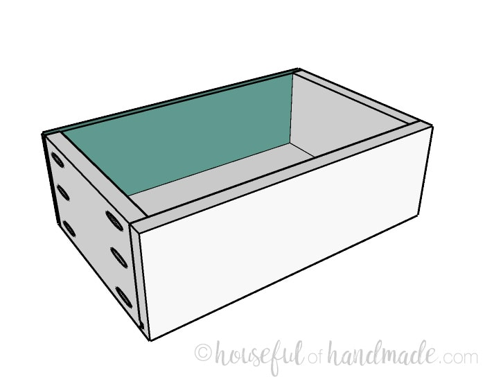 Small console table plans step 10: attaching the decorative drawer fronts. Housefulofhandmade.com