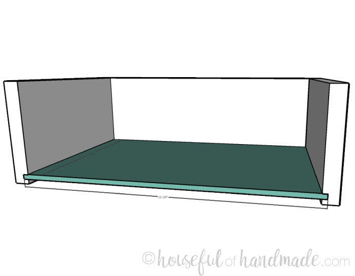 Small console table plans step 9: adding the drawer bottom. Housefulofhandmade.com