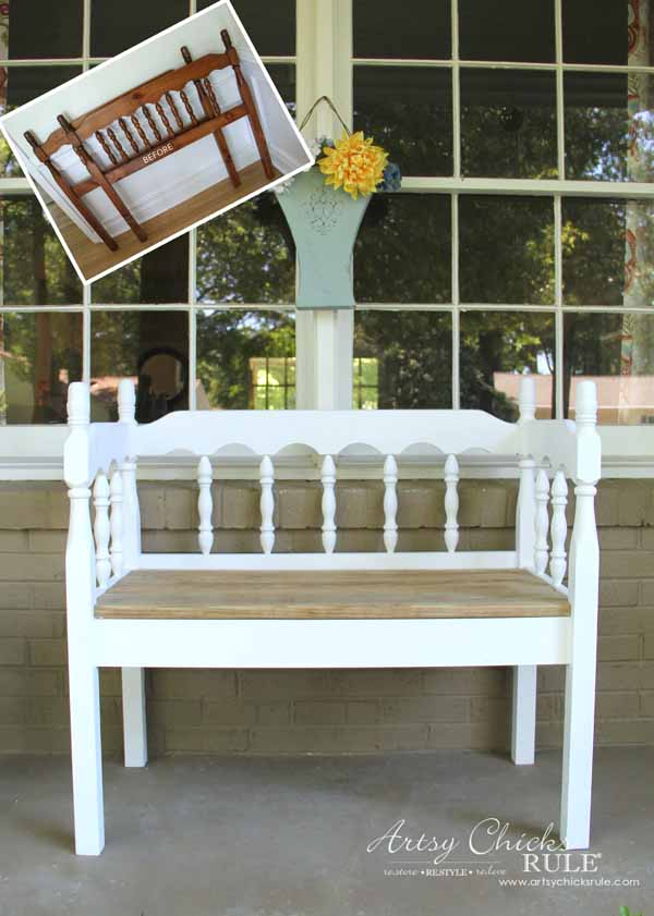 Turn and old headboard into the perfect DIY outdoor bench with this DIY Headboard Benchtutorial from Artsy Chics rule. You can never have too many benches to rest on a hot summer day.