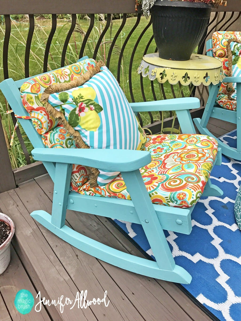 If you have sentimental pieces that are just not looking so great anymore, you can give them new life. That is what The Magic Brush Inc did when she Painted Grandma's Rocking Chairs with new All in One Paint.