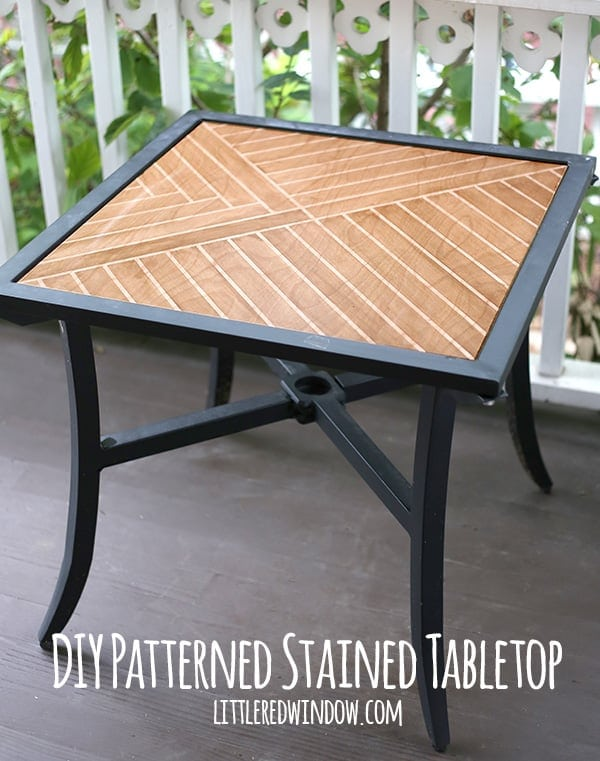 Transform a sad little patio table into a beautiful new piece. Little Red Window shares How to make a Patterned Stained Tabletop to turn an old table into a work of art.