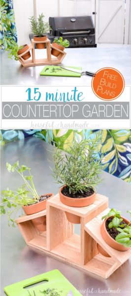 Create a countertop herb garden with this 15 minute craft. Clay pots and a cedar fence picket are turned into a beautiful kitchen herb planter. Use it for a beautiful indoor herb garden or as a fun tabletop garden for your patio. Housefulofhandmade.com