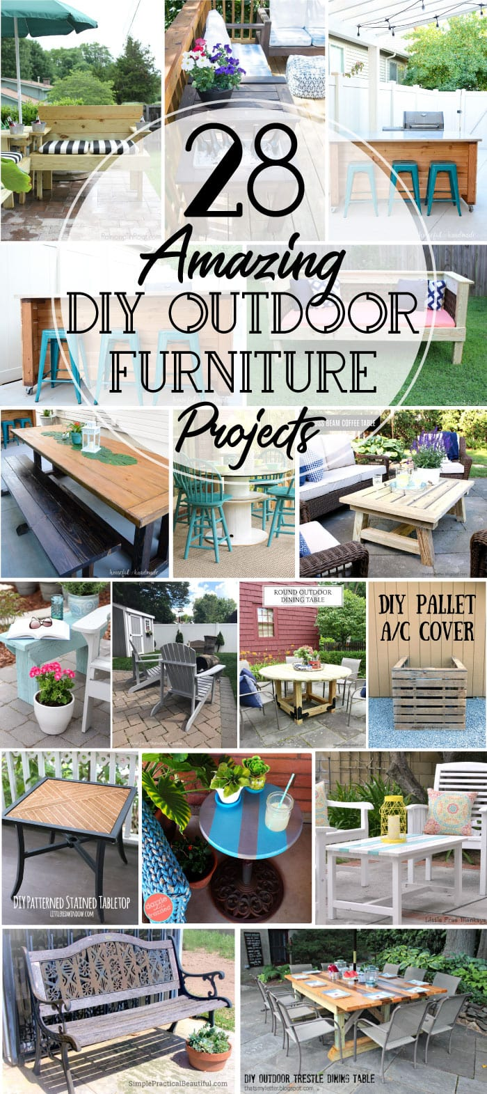 Get your yard ready for spring with these DIY outdoor furniture projects. Create the perfect backyard oasis with DIY patio furniture, DIY outdoor benches, patio table plans and so much more. These 28 DIY outdoor furniture projects will have you enjoying the sunshine soon. Housefulofhandmade.com