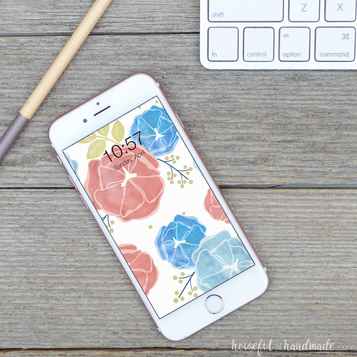 These free digital backgrounds for April are the perfect digital wallpaper for spring. A bright watercolor surface pattern will pop on your smartphone. Housefulofhandmade.com
