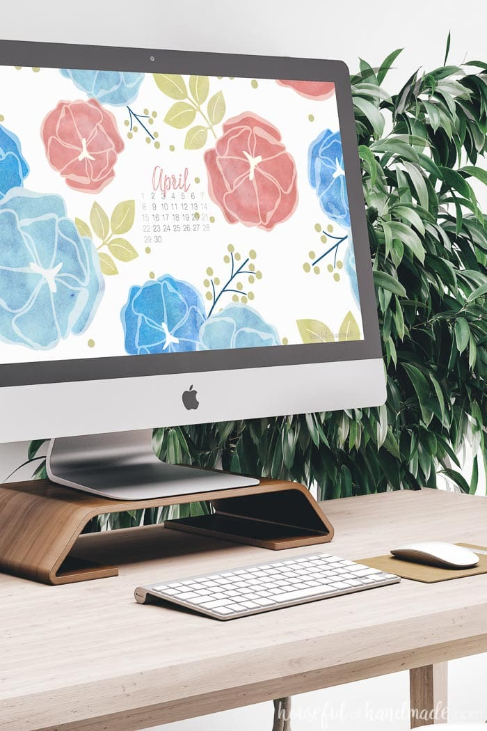Download the free digital wallpaper for April. The bright floral print with the April 2018 calendar is perfect for keeping you organized this spring. Housefulofhandmade.com