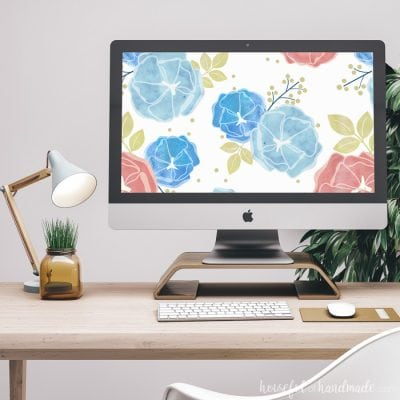 Download this bright floral print digital wallpaper today. The pink and blue flowers are the perfect way to welcome in spring. Housefulofhandmade.com