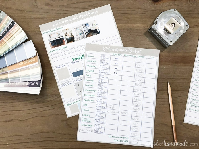 Figure out your kitchen remodel budget with these printable kitchen planning tools. Budget and mood board sheets help you stay organized. Housefulofhandmade.com