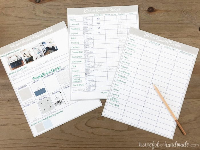 These free printable kitchen planning tools will help make a kitchen remodel much easier. There are so many aspects to a kitchen renovation. Use these printable renovation planning sheets to stay organized. Housefulofhandmade.com