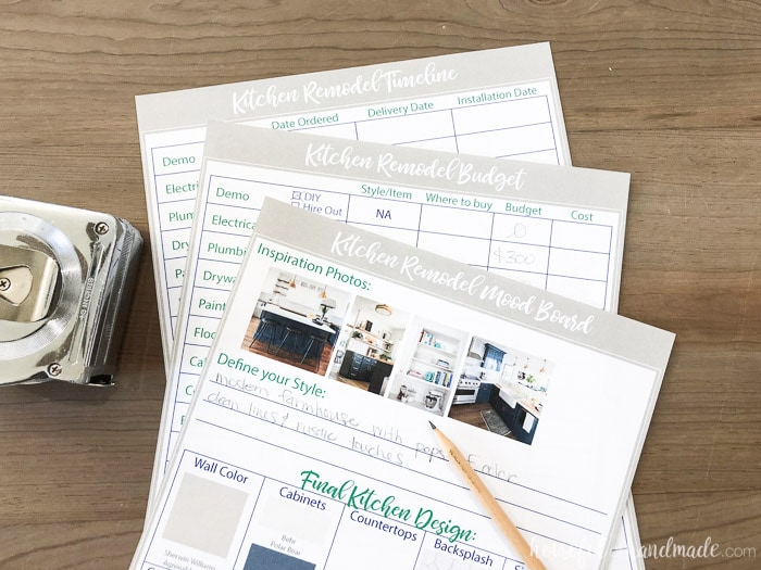 Organize your kitchen remodel with these printable kitchen planning tools. There is a worksheet for kitchen design or mood board, one for the remodel budget, and one for keeping track of the timeline. Housefulofhandmade.com