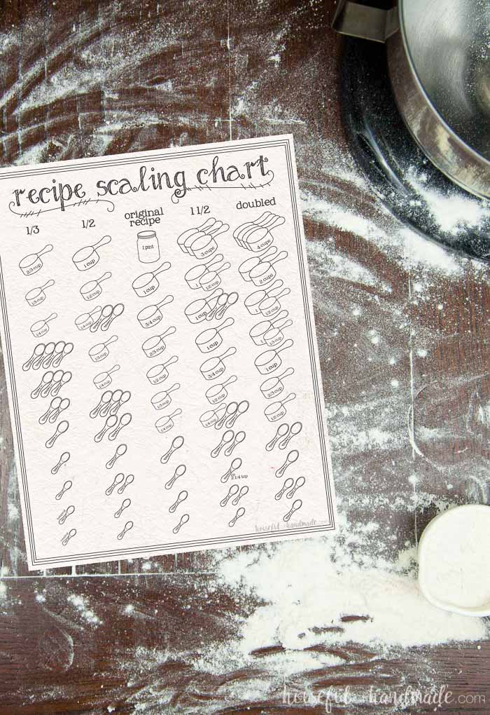 Figuring out how to scale a recipe can be a challenge. Not anymore! This free printable recipe scaling chart will help you keep track of your new measurements while also being artwork for your kitchen. Housefulofhandmade.com