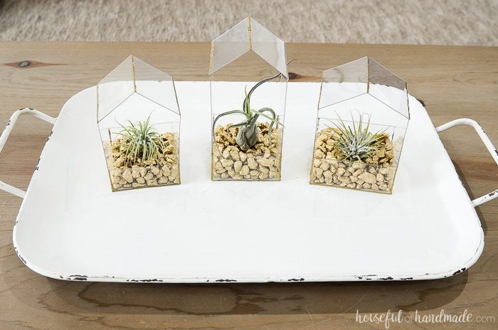 Three coordinating house shaped plant holders on a tray on a table.