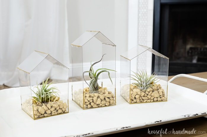 Three modern house shaped air plants holders with gold rocks on a tray.