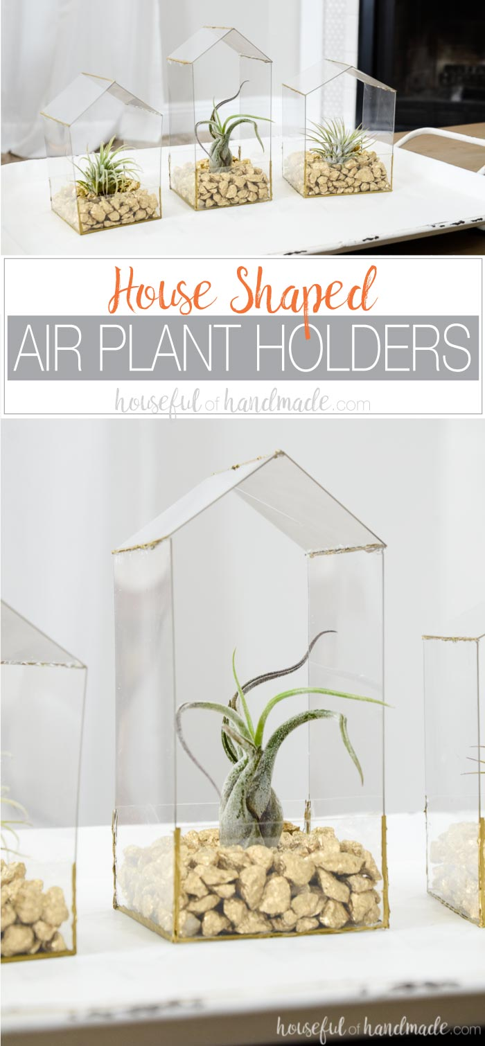 Display your air plants in this modern house shaped air plant holder. These air plant terrariums are quick and easy to make. The perfect air plant display for any modern home decor. Get the easy DIY air plant holder tutorial at housefulofhandmade.com.