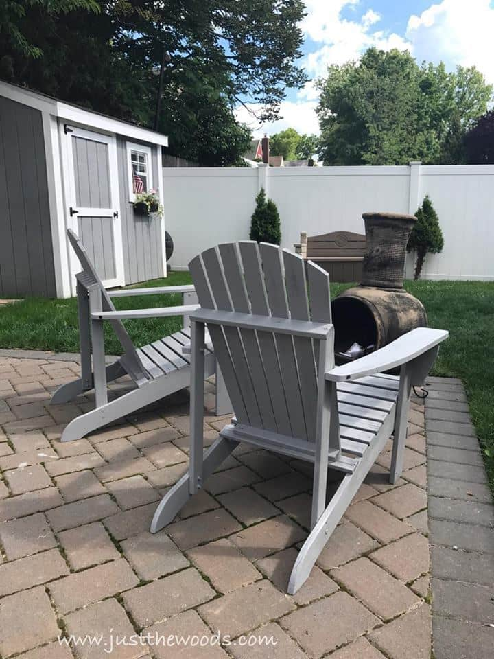 And here are those classic Adirondack chairs again! I just love how Just the Woods brought them back to life by Painting Outdoor Adirondack Chairs with a sprayer (PS Sprayers make painting all those slats a breeze).
