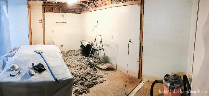 There are always challenges when you open walls. See how we dealt with ours in our DIY kitchen remodel week 2 progress. Housefulofhandmade.com